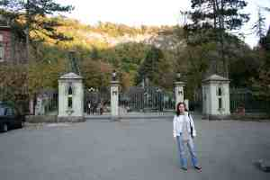 Khatuna at the gates of the park.